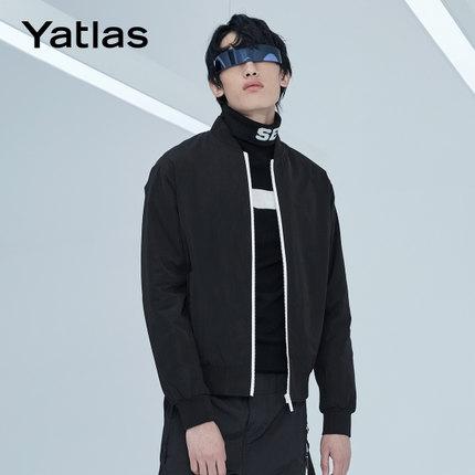 亚锐Yatlas男装冬季新品黑色基础多搭运动低调印花撞色休闲棉夹克