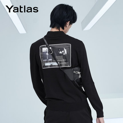 亚锐Yatlas男装冬季新品黑色印花绣花潮流保暖内搭外穿高领毛衫