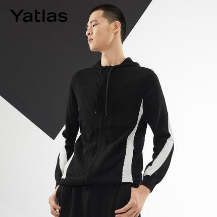 亚锐Yatlas男装秋季新品微弹撞色织带拼接个性街头运动开襟毛衫