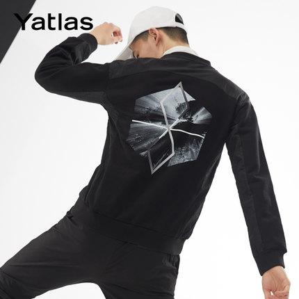 亚锐Yatlas男装秋季新品肌理感拼接印花抽象个性潮流运动休闲卫衣