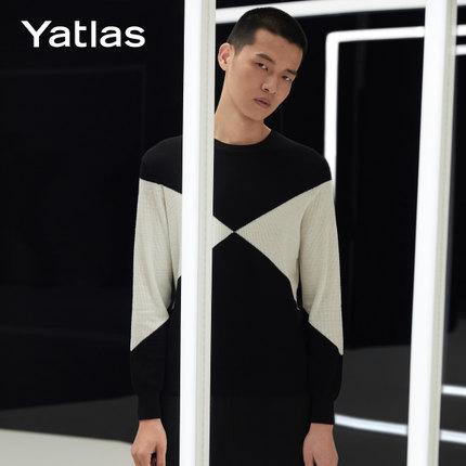 亚锐Yatlas男装秋季新品黑色薄微弹柔软撞色几何分割圆领毛衫