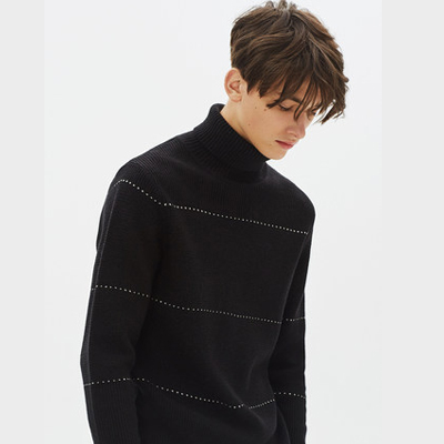 gxgjeans男装冬修身黑白条纹高领毛衣休闲针织衫潮
