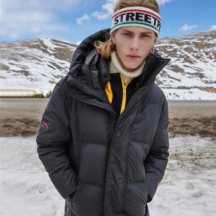 gxgjeans男装2018冬新款羽绒服男青年长款黑色连帽外套