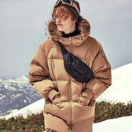 gxgjeans男装2017冬长款保暖加厚羽绒服