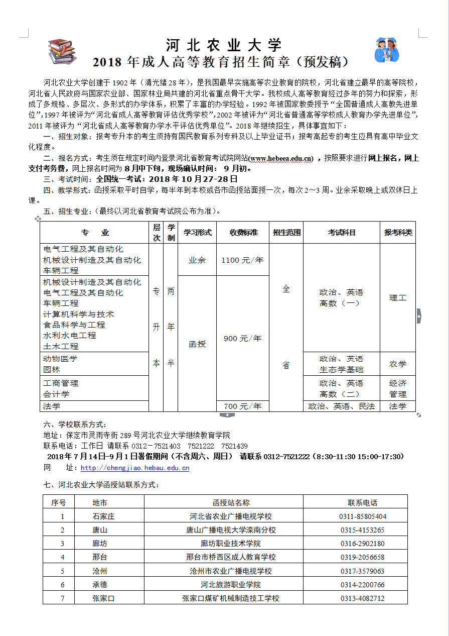 2020年河北农业大学成人高等教育招生简章
