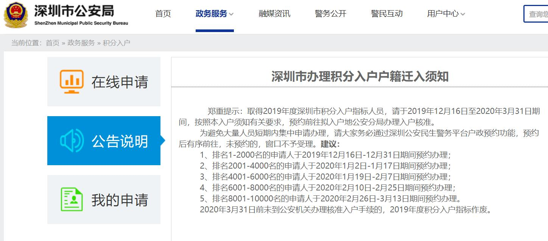 深圳市办理积分入户户籍迁入须知
