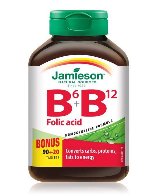 加拿大代购 健美生Jamieson 维生素 B6+B12 叶酸综合片 110粒