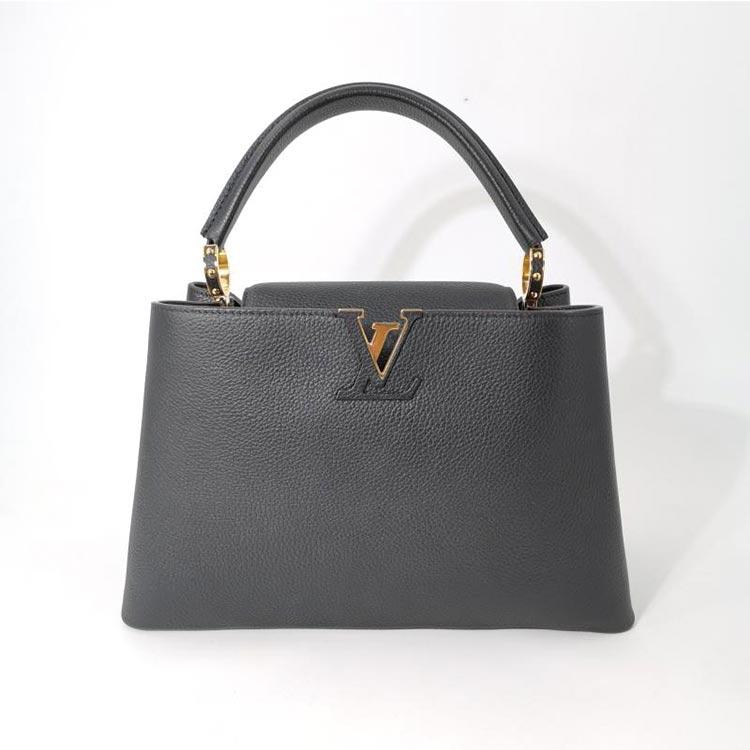 二手奢侈品LV路易威登黑色牛皮CAPUCINES中号手袋手提包