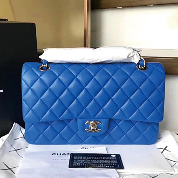 二手奢侈品Chanel香奈儿电光蓝中号羊皮手提单肩包