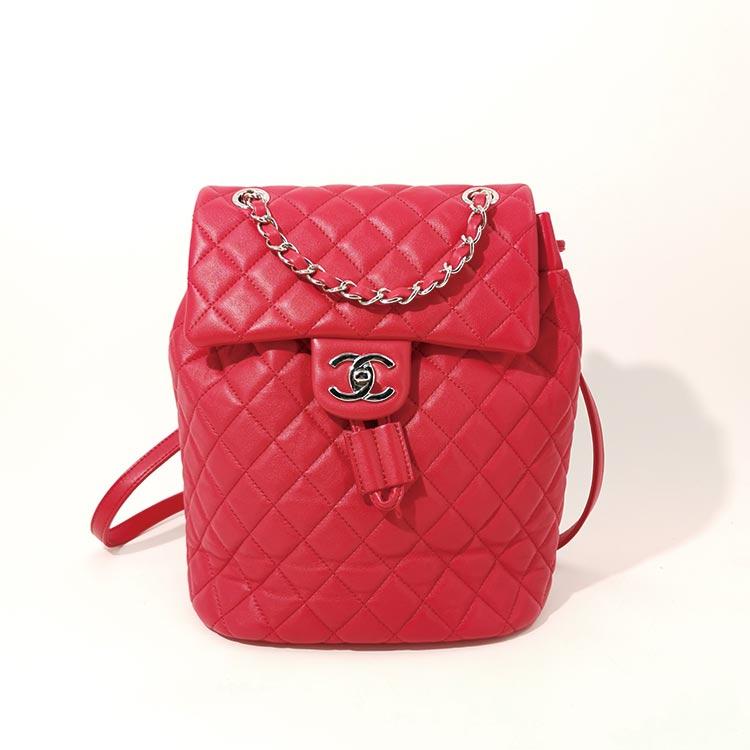 二手奢侈品Chanel香奈儿红色羊皮银扣双肩包