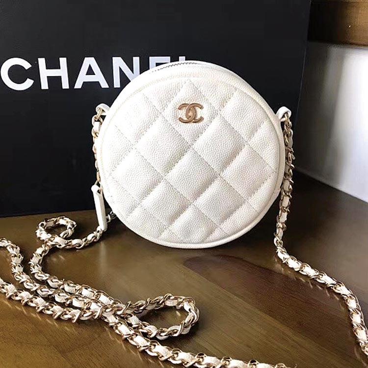 二手奢侈品Chanel香奈儿白色荔枝皮圆饼包