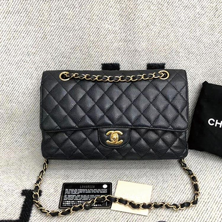 二手奢侈品Chanel香奈儿中号黑金荔枝皮手提单肩包