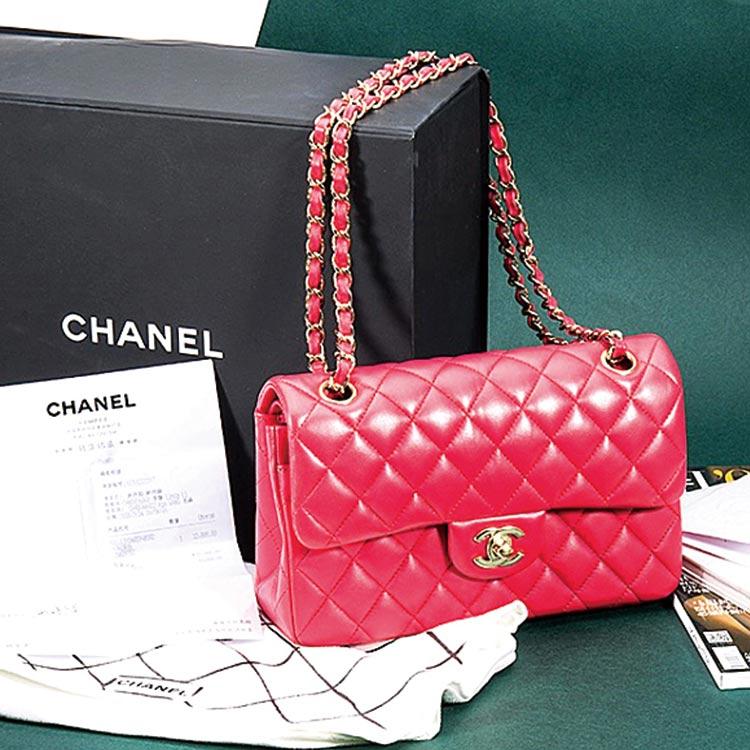 二手奢侈品Chanel香奈儿玫红色小号小羊皮手提单肩斜挎包