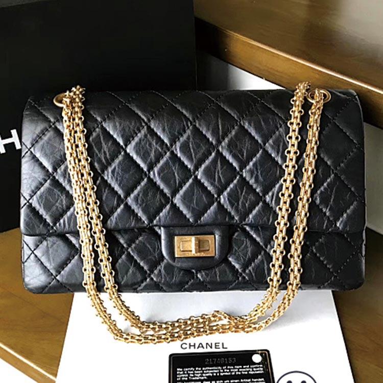 二手奢侈品Chanel香奈儿2.55系列226中号黑金手提单肩斜挎链条包
