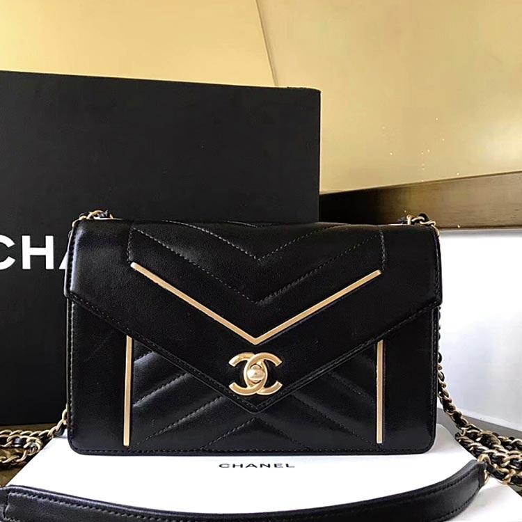二手奢侈品Chanel香奈儿信封包单肩斜挎链条包