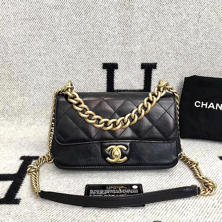 二手奢侈品Chanel香奈儿大都会系列复古紫黑金牛皮手提单肩斜挎包