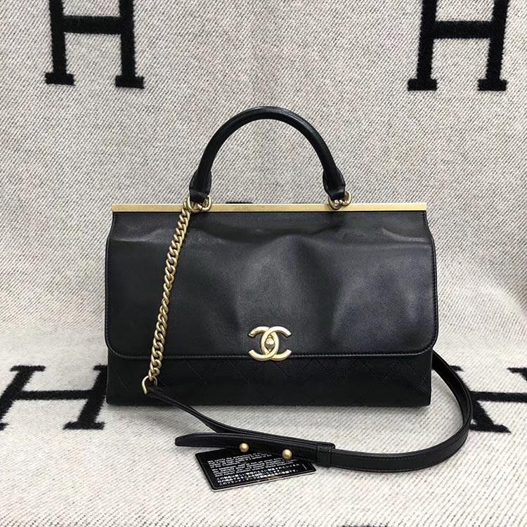二手奢侈品香奈儿Chanel香奈儿黑色牛皮手提单肩包