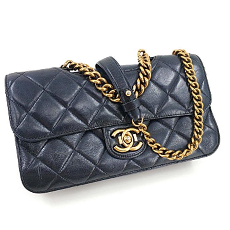 二手奢侈品Chanel香奈儿孟买系列黑色牛蜡皮粗链菱格链条包