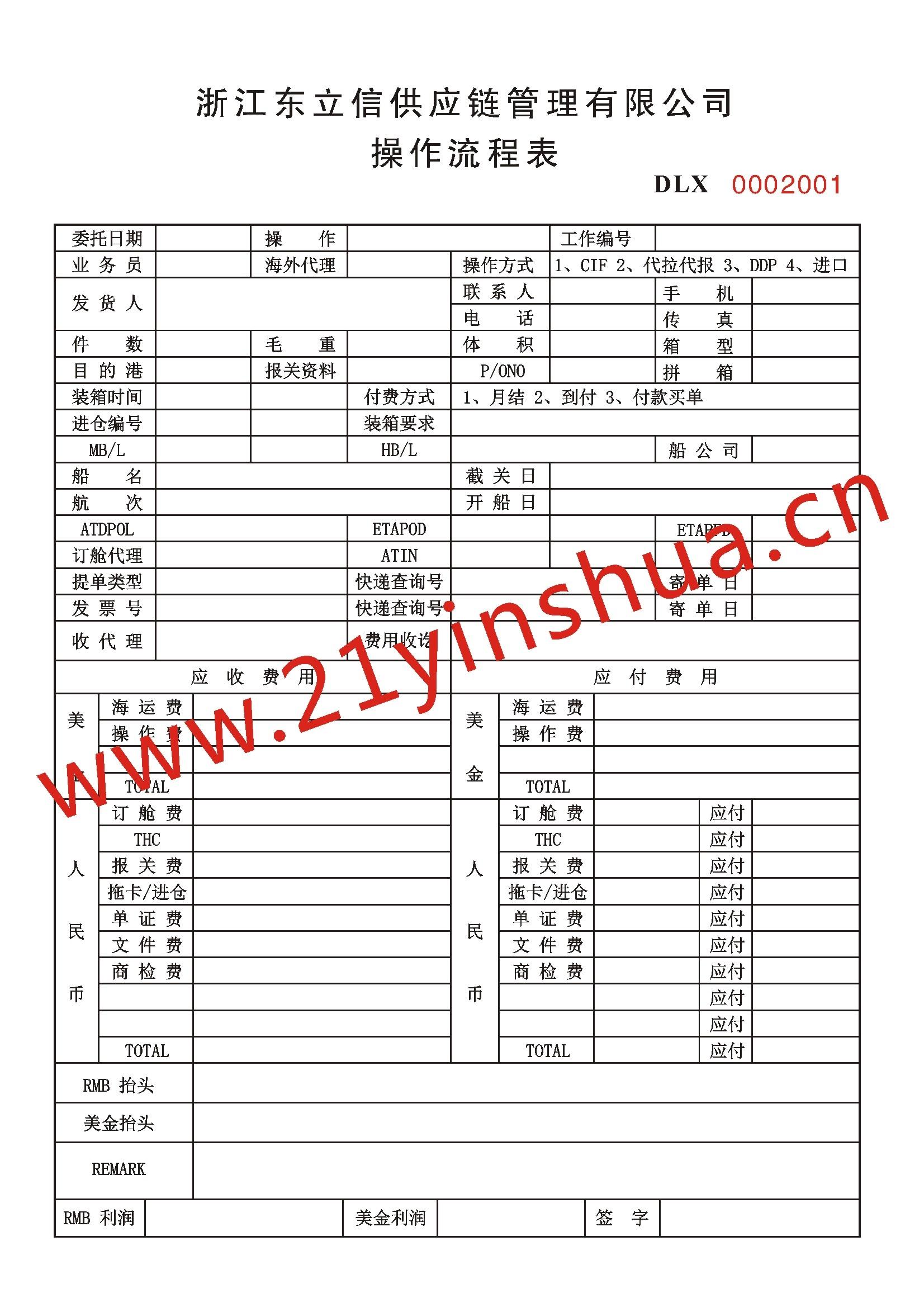 印刷定制国际物流操作流程表浙江东立信供应链管理有限公司案例