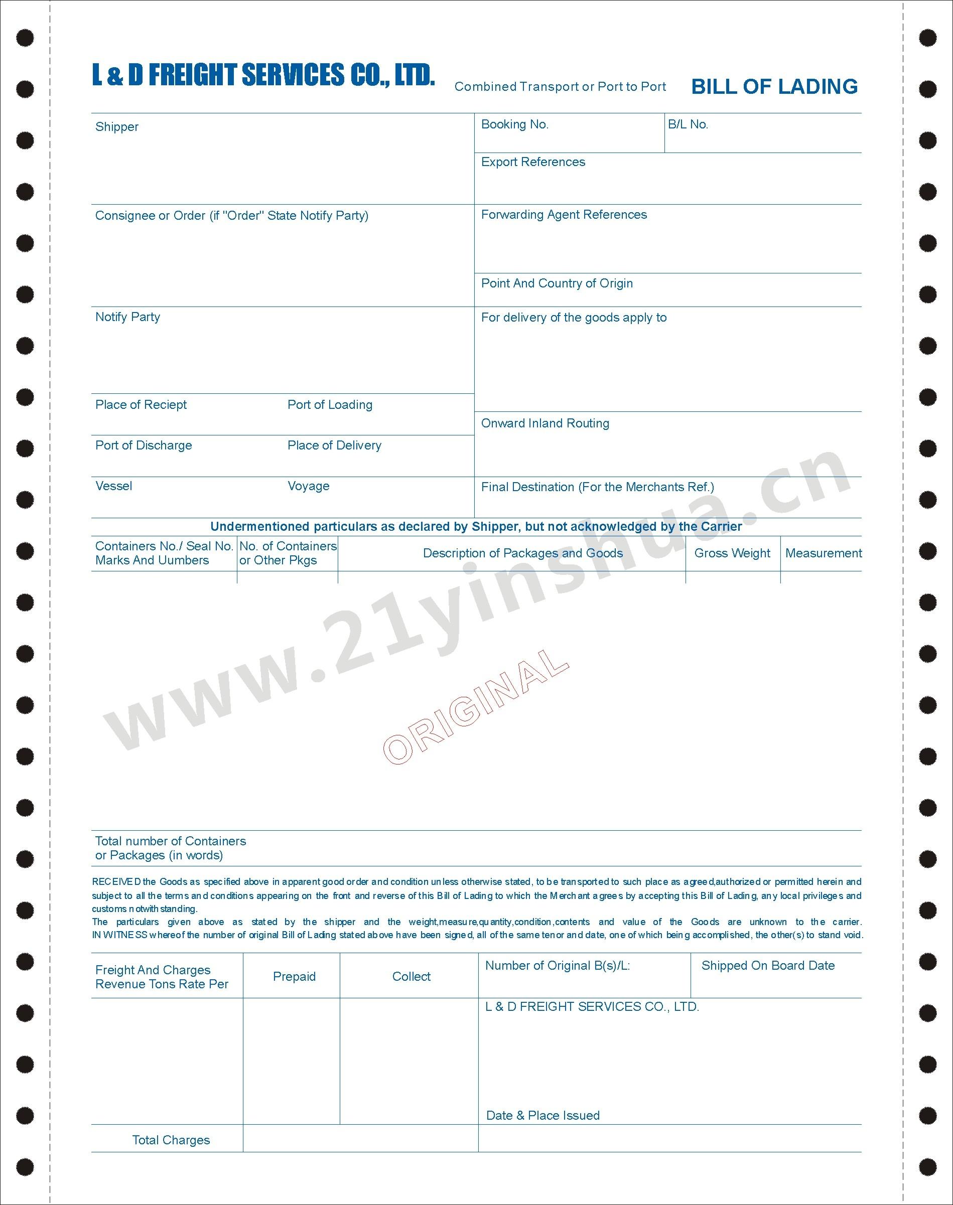 印刷定制海运提单 L & D FREIGHT SERVICES 成功案例上海蔚文印刷