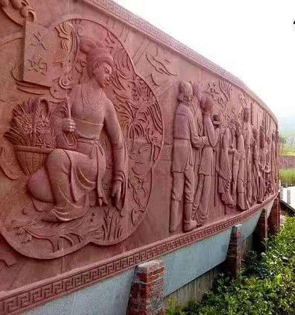 紅砂岩浮雕背景牆——成都翰林石材廠家直銷價更低