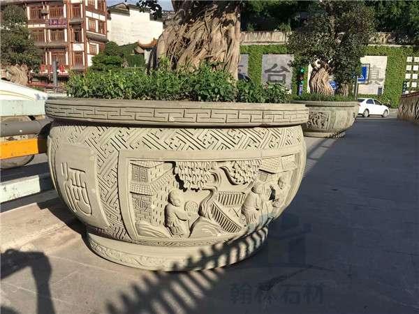 四川仿古水缸石雕花缸