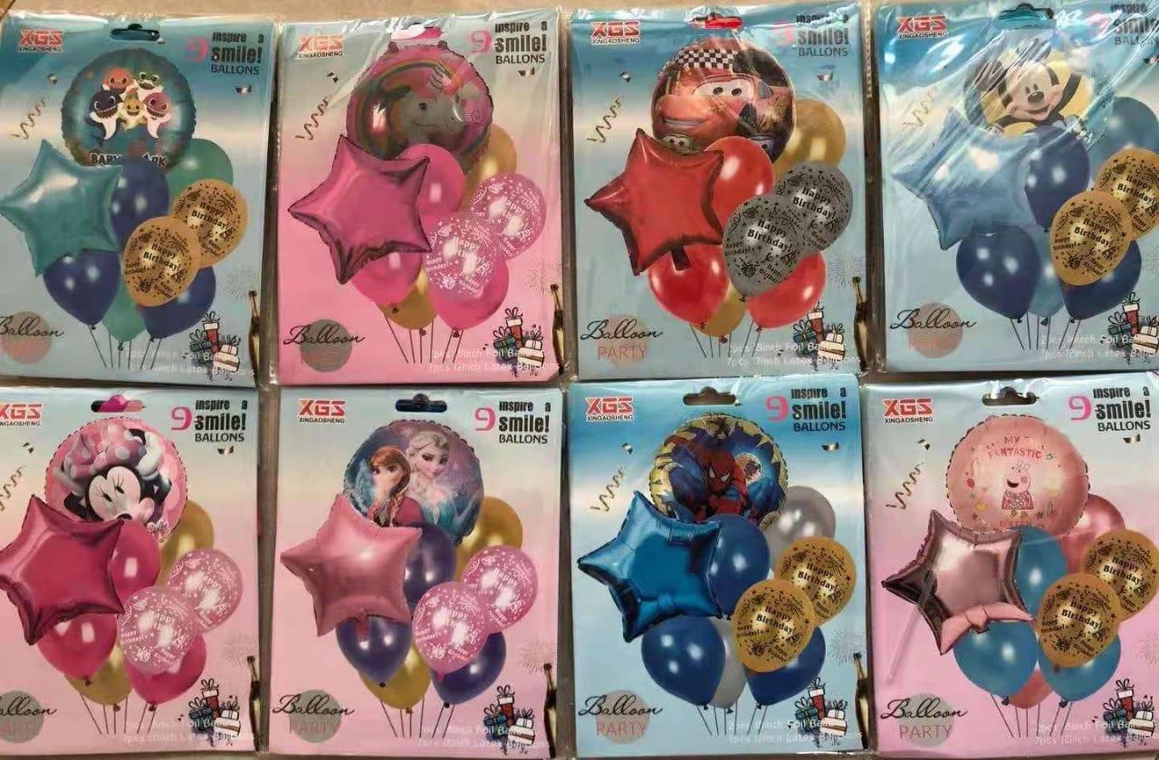 9PC Cartoon Balloon Set